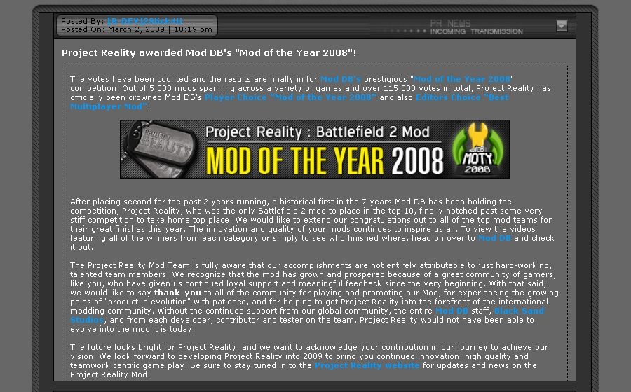 Project Reality win Mod of the Year award from ModDB